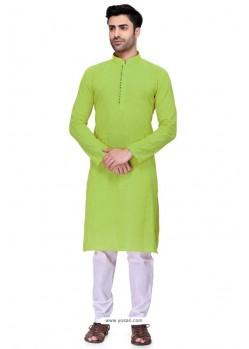 Parrot Green Readymade Art Silk Kurta Pajama For Men