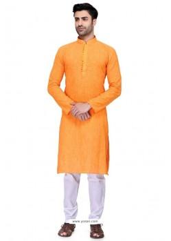 Orange Readymade Art Silk Kurta Pajama For Men