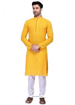 Yellow Readymade Art Silk Kurta Pajama For Men