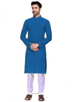 Dark Blue Readymade Art Silk Kurta Pajama For Men