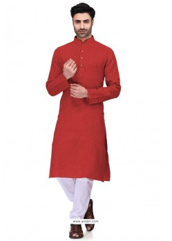 Red Readymade Art Silk Kurta Pajama For Men