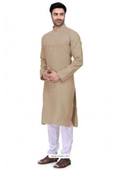 Taupe Readymade Art Silk Kurta Pajama For Men