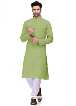 Green Readymade Art Silk Kurta Pajama For Men