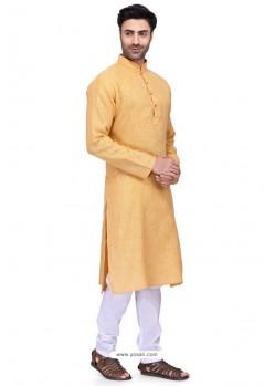 Light Orange Readymade Art Silk Kurta Pajama For Men