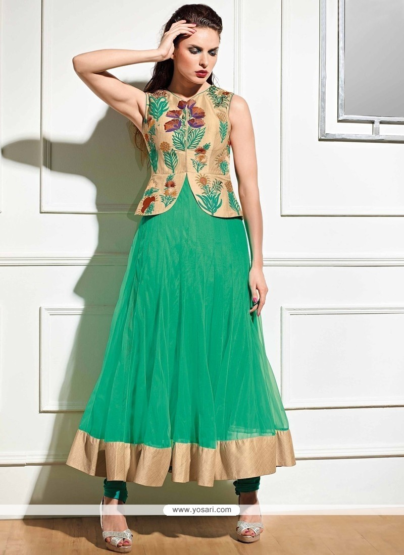 Talismanic Embroidered Work Green Anarkali Salwar Kameez