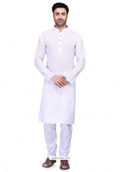 White Readymade Art Silk Kurta Pajama For Men