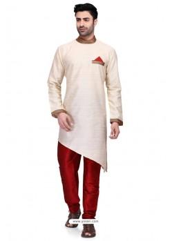 Off White Readymade Art Silk Kurta Pajama For Men