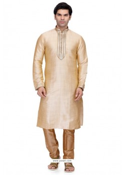 Gold Readymade Art Silk Kurta Pajama For Men