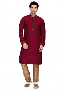 Maroon Readymade Art Silk Kurta Pajama For Men