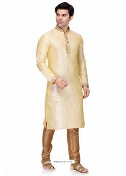 Cream Readymade Art Silk Kurta Pajama For Men