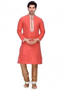 Peach Readymade Art Silk Kurta Pajama For Men