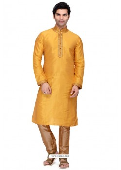 Mustard Readymade Art Silk Kurta Pajama For Men