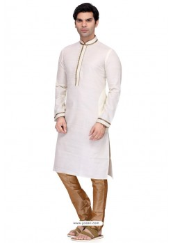 White Readymade Art Silk Kurta Pajama For Men