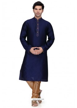 Navy Blue Readymade Art Silk Kurta Pajama For Men