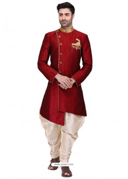 Maroon Readymade Art Silk Kurta Pajama For Men