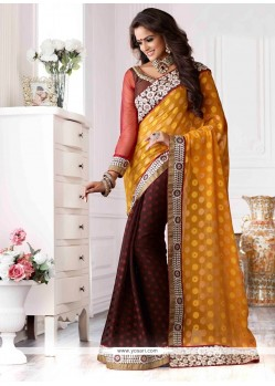 Mustard And Brown Shaded Jacquard Designer Saree