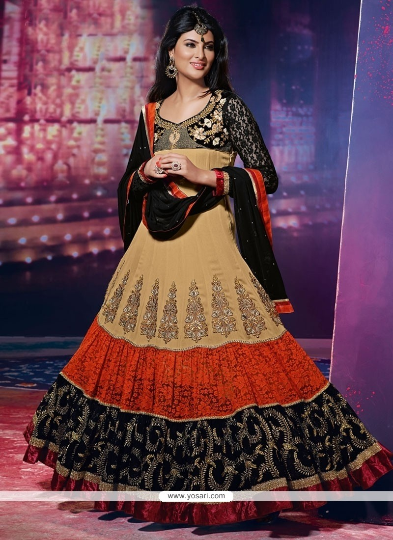 Aspiring Embroidered Work Anarkali Suit