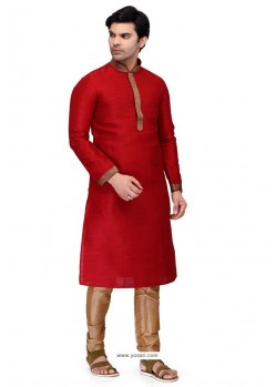 Red Readymade Art Silk Kurta Pajama For Men