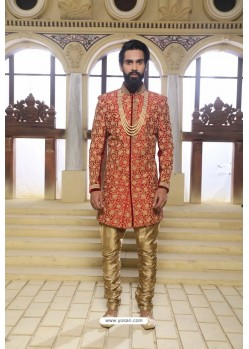 Red Readymade Indowestern Sherwani For Men
