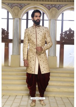 Cream Readymade Indowestern Sherwani For Men