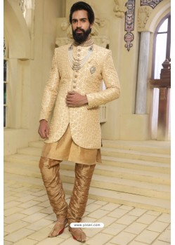Gold Readymade Indowestern Sherwani For Men