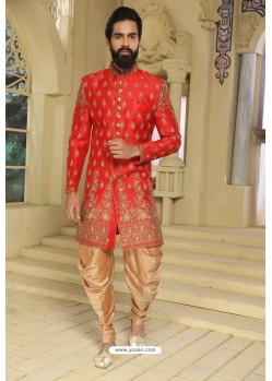 Tomato Red Readymade Indowestern Sherwani For Men