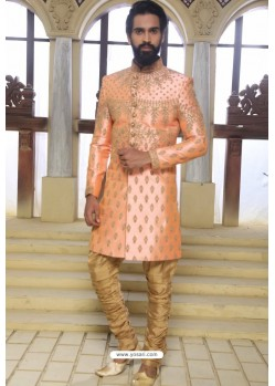 Light Orange Readymade Indowestern Sherwani For Men