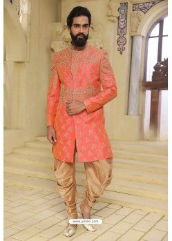 Peach Readymade Indowestern Sherwani For Men