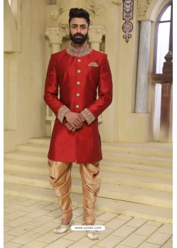 Maroon Readymade Indowestern Sherwani For Men