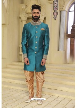 Teal Blue Readymade Indowestern Sherwani For Men