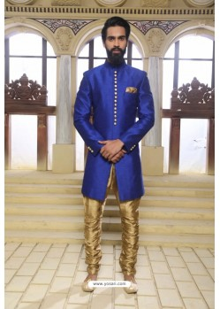Royal Blue Readymade Indowestern Sherwani For Men