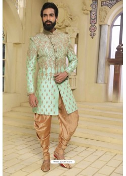 Sea Green Readymade Indowestern Sherwani For Men