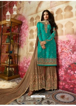 Turquoise Heavy Designer Georgette Party Wear Sharara Suit