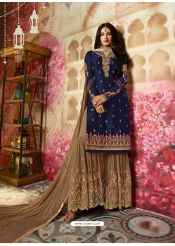 Navy Blue Heavy Designer Georgette Party Wear Sharara Suit