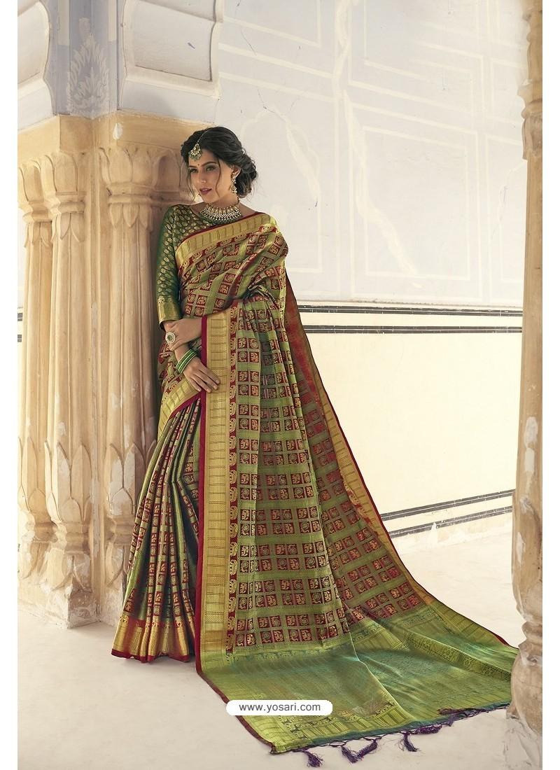 Green Designer Party Wear Banarasi Weaving Silk Sari