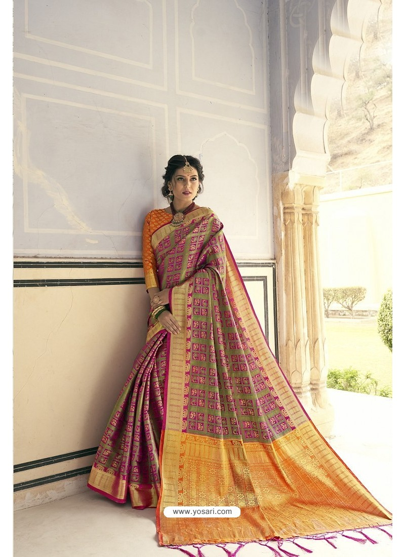 Mustard Designer Party Wear Banarasi Weaving Silk Sari