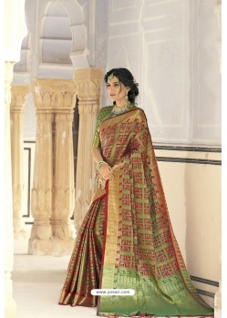 Green Designer Party Wear Banarasi Weaving Silk Sari