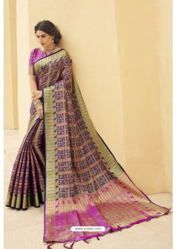 Magenta Designer Party Wear Banarasi Weaving Silk Sari