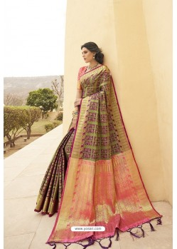 Multi Colour Designer Party Wear Banarasi Weaving Silk Sari