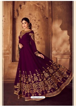 Deep Wine Heavy Embroidered Designer Real Georgette Anarkali Suit