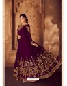 Deep Wine Heavy Embroidered Designer Real Georgette Anarkali Suit