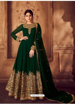 Dark Green Heavy Embroidered Designer Real Georgette Anarkali Suit