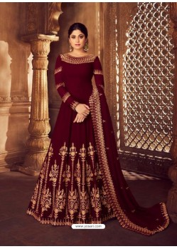 Maroon Heavy Embroidered Designer Real Georgette Anarkali Suit
