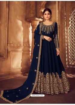 Navy Blue Heavy Embroidered Designer Real Georgette Anarkali Suit