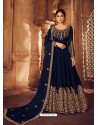 Navy Blue Heavy Embroidered Designer Real Georgette Anarkali Suit