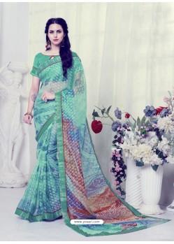 Aqua Mint Designer Casual Wear Khushi BrassoᅠSari