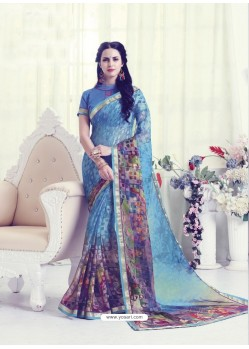 Blue Designer Casual Wear Khushi BrassoᅠSari