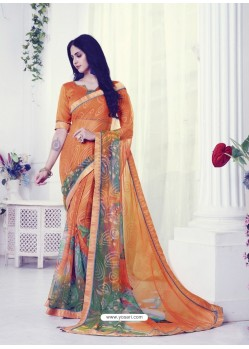 Orange Designer Casual Wear Khushi BrassoᅠSari
