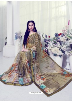 Beige Designer Casual Wear Khushi BrassoᅠSari