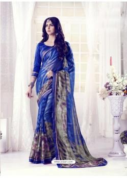 Royal Blue Designer Casual Wear Khushi BrassoᅠSari